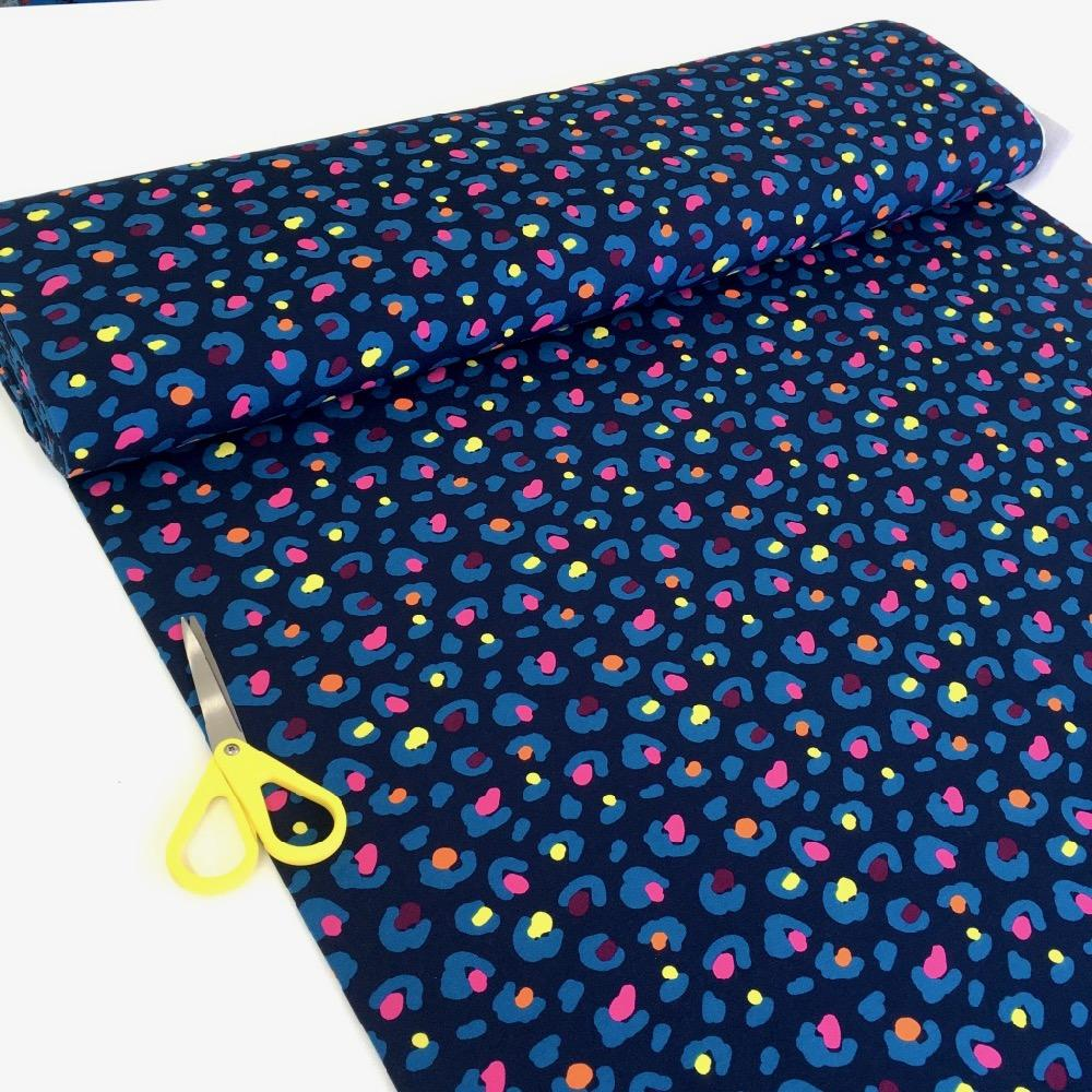 Painted Cheetah Dots Printed French Terry Navy Fabric by Various