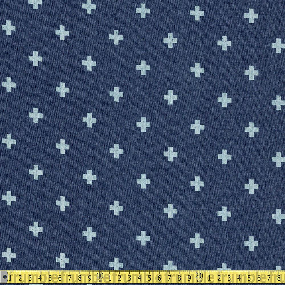 Printed Plus Signs Chambray Denim Blue Fabric by Various