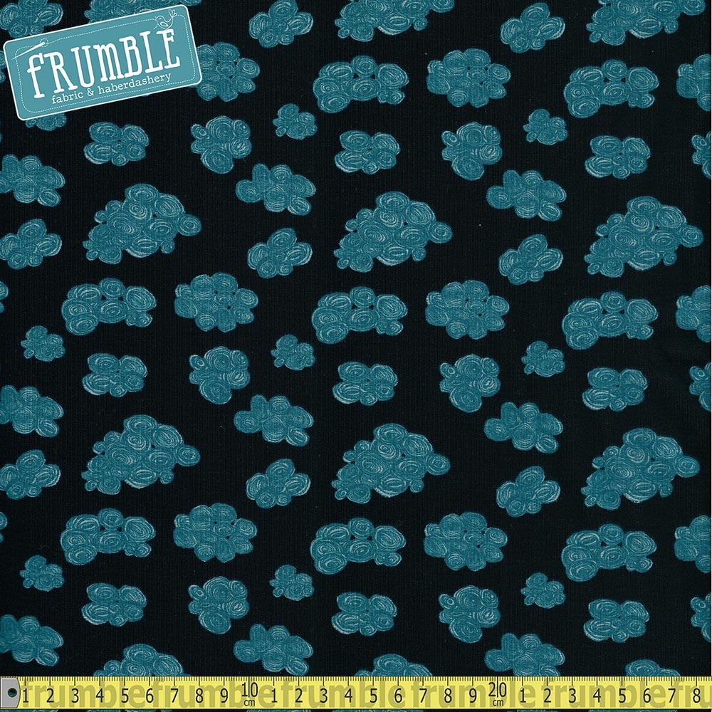 Rainy Clouds Loop Back Navy - Frumble Fabrics