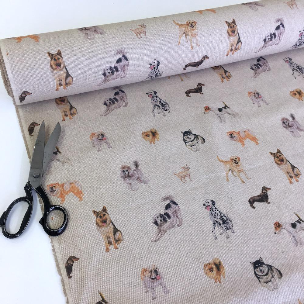 Realistic Dogs Linen Look Half Panama Canvas Fabric - Frumble Fabrics