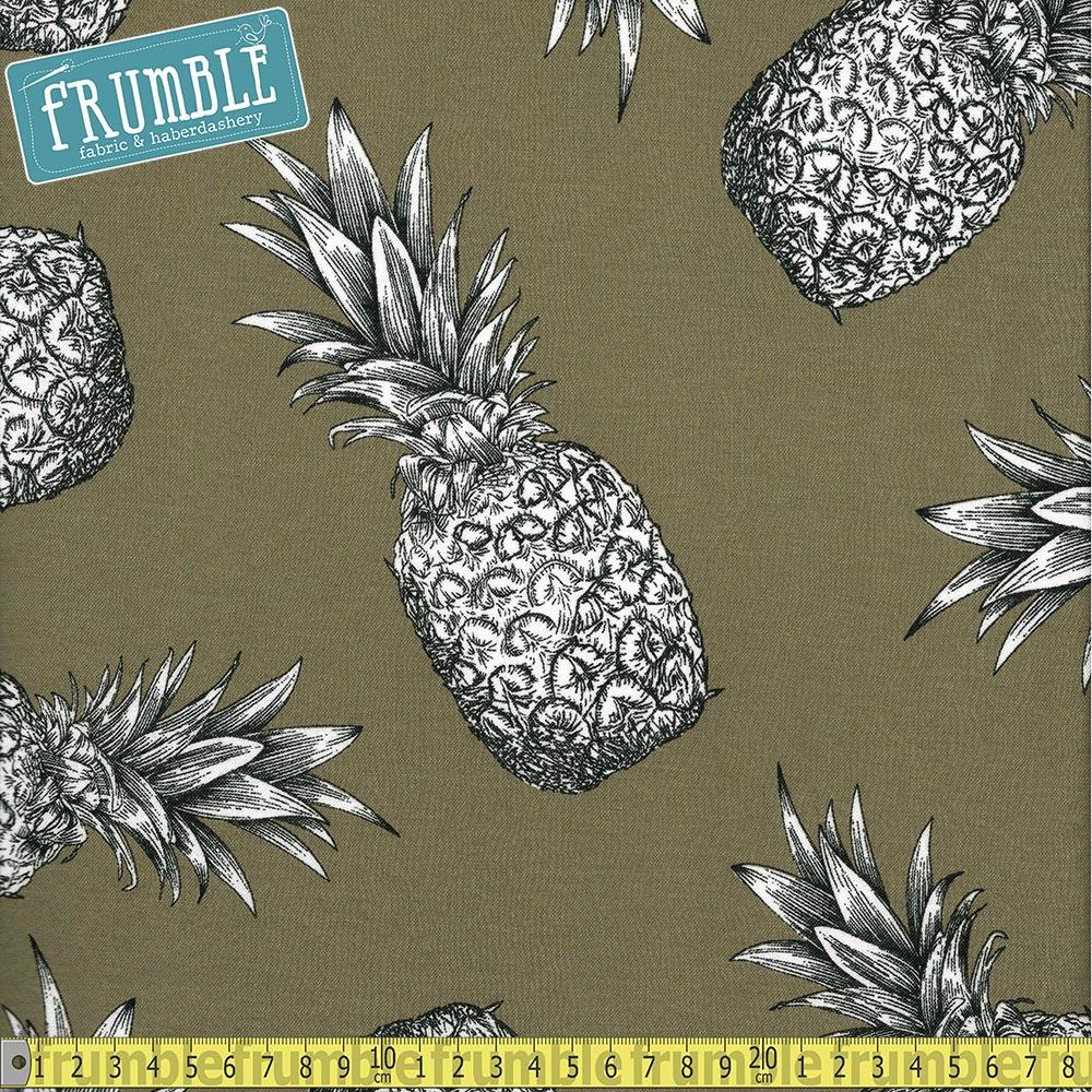 Retro Pineapple Green Viscose Stretch Fabric by Various