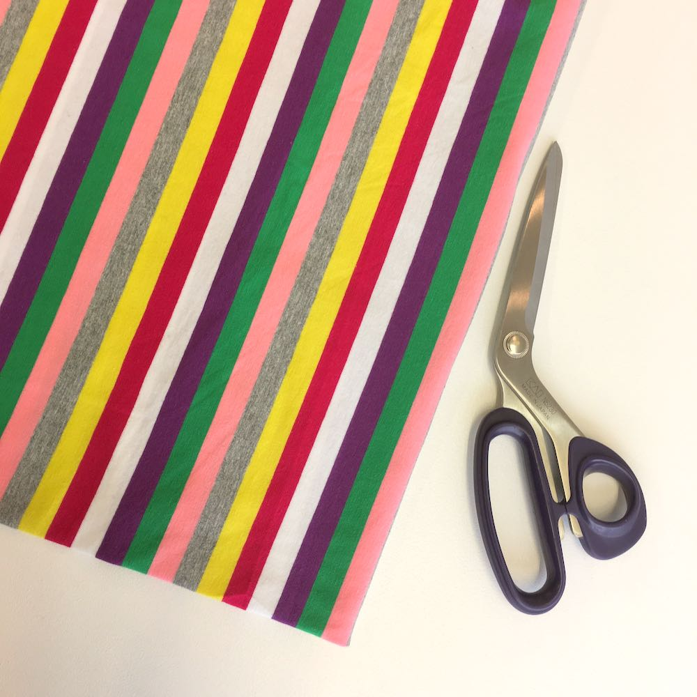 Retro Rainbow Stripe Yarn Dyed Jersey Fabric Knit In Bright Multi Colours