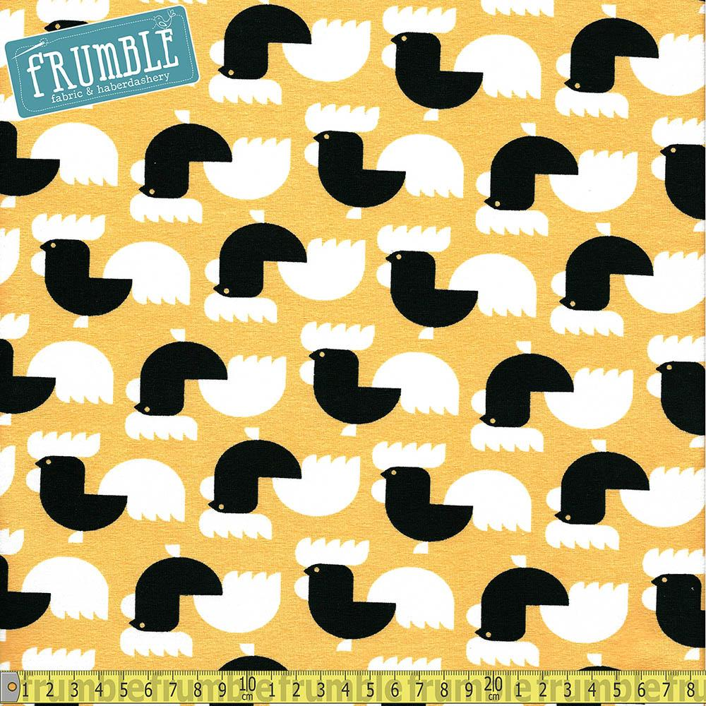 Scandi Chickens Yellow Jersey Print Fabric by Various
