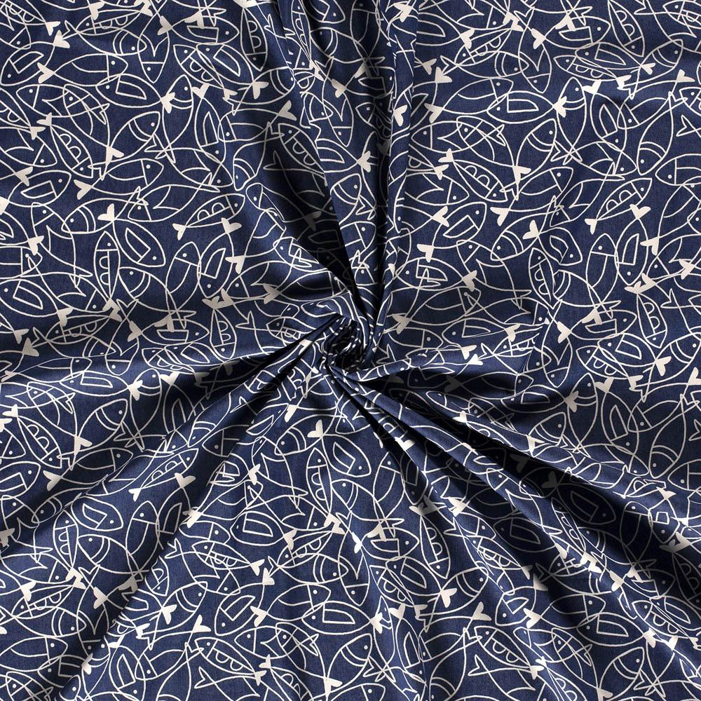Scattered Sardines Stretch 7oz Cotton Denim Mid Blue - Frumble Fabrics