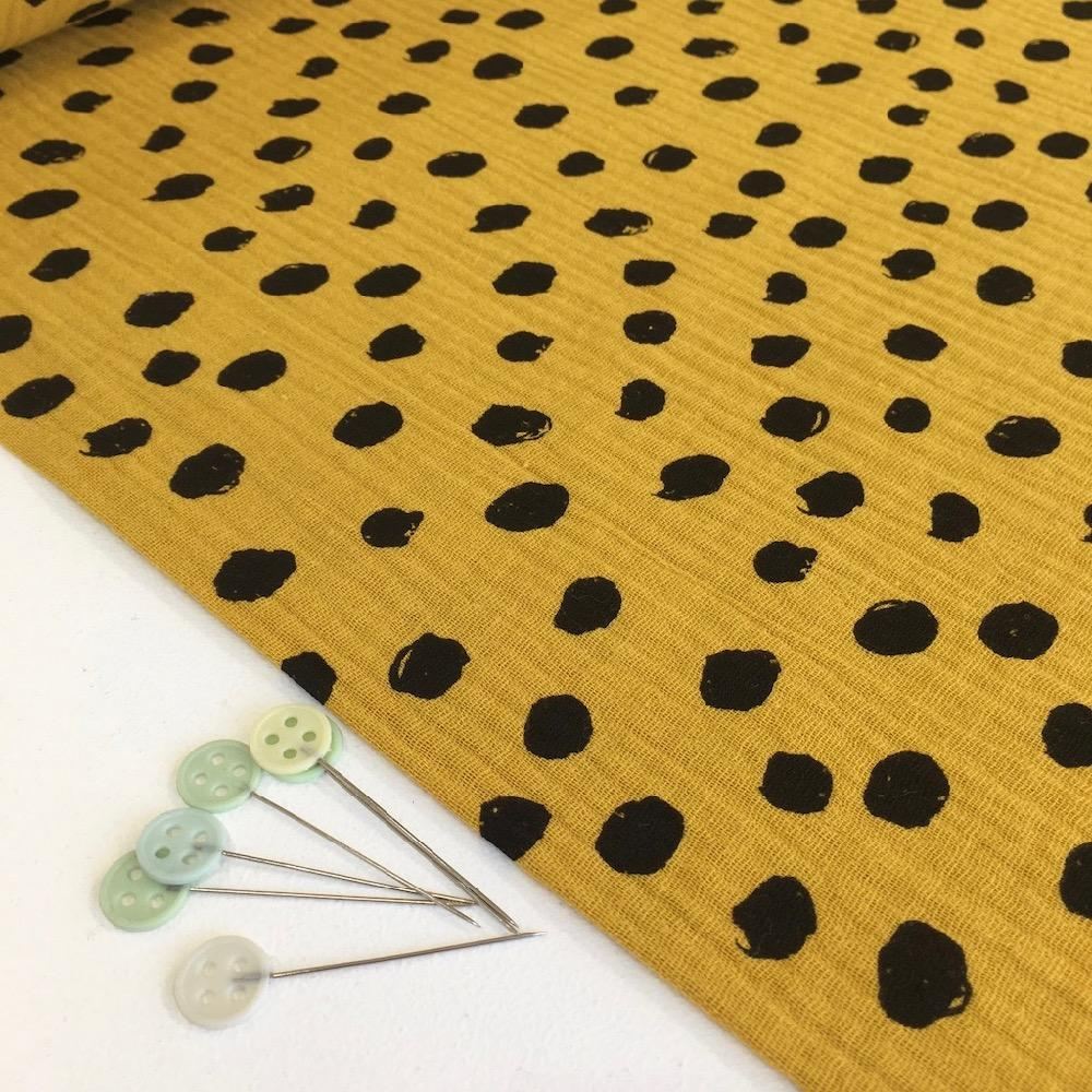 Scribble Dot Double Gauze Burnt Yellow Fabric by Various
