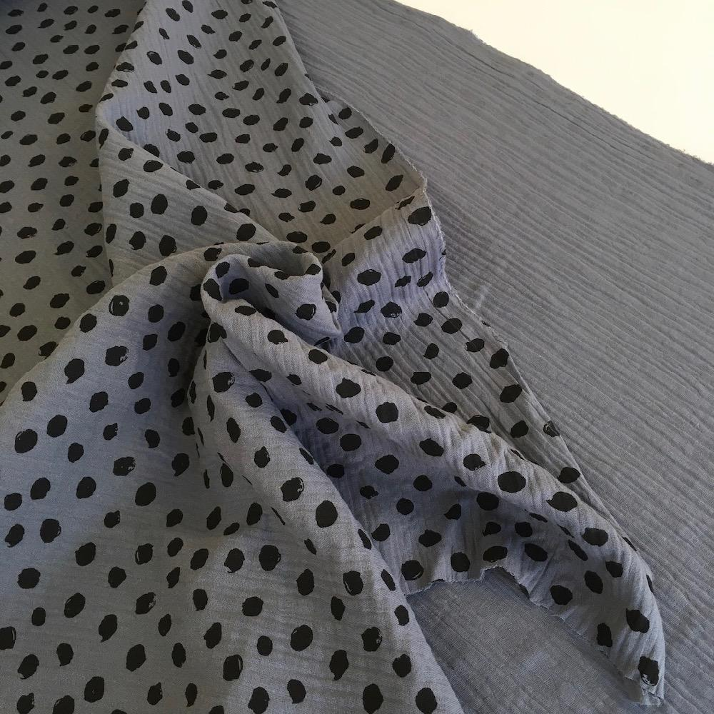 Scribble Dot Double Gauze Dark Grey Fabric by Various