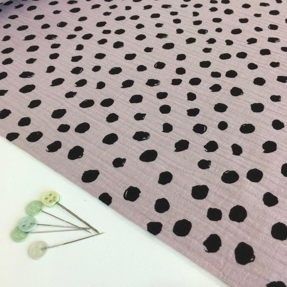 Scribble Dot Double Gauze Lilac Fabric by Various
