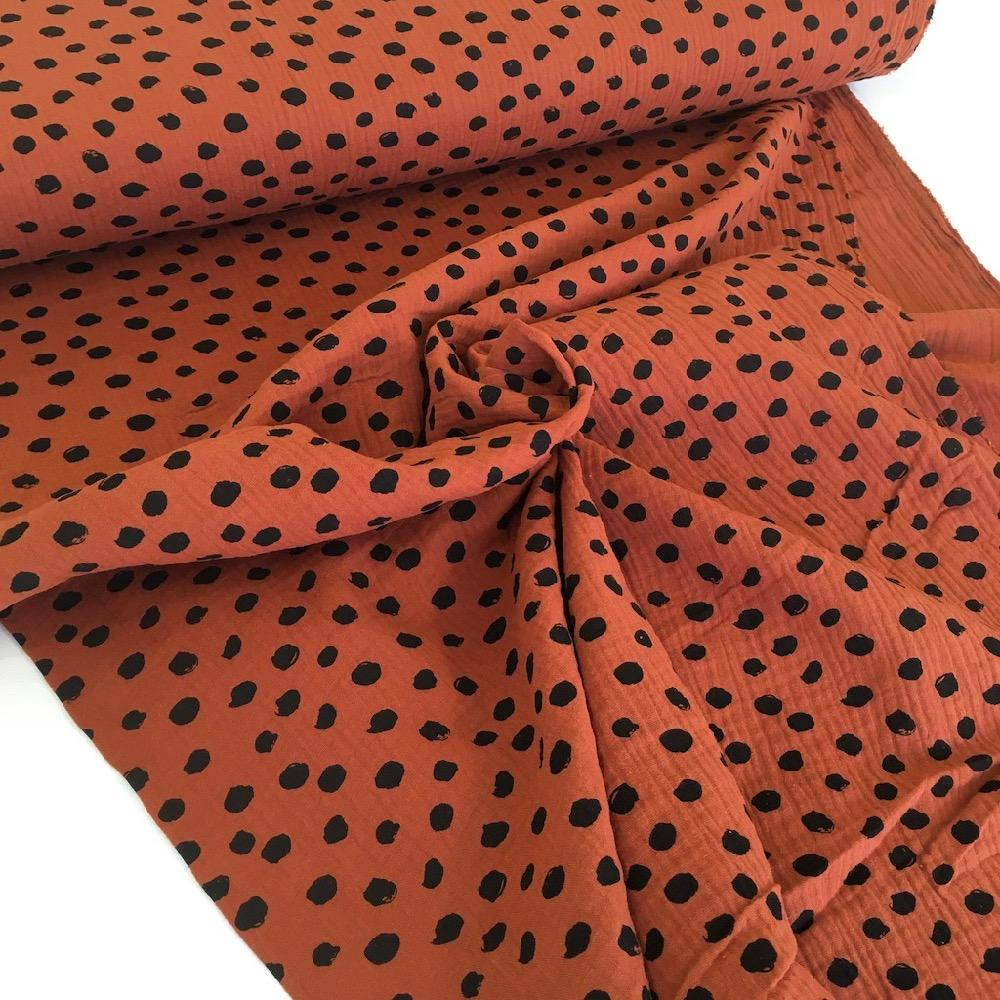 Scribble Dot Double Gauze Rust Fabric by Various
