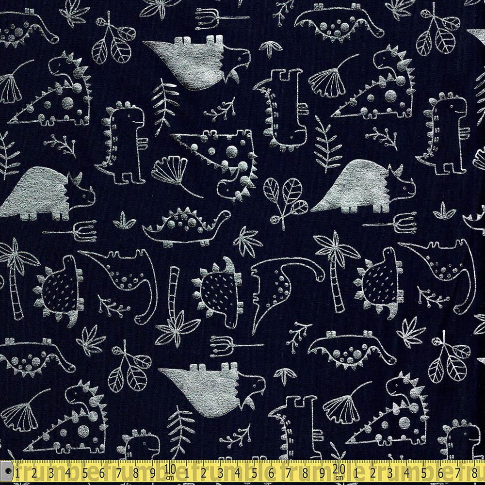 Silver Dinos Metallic Foil Jersey Navy Fabric by Various