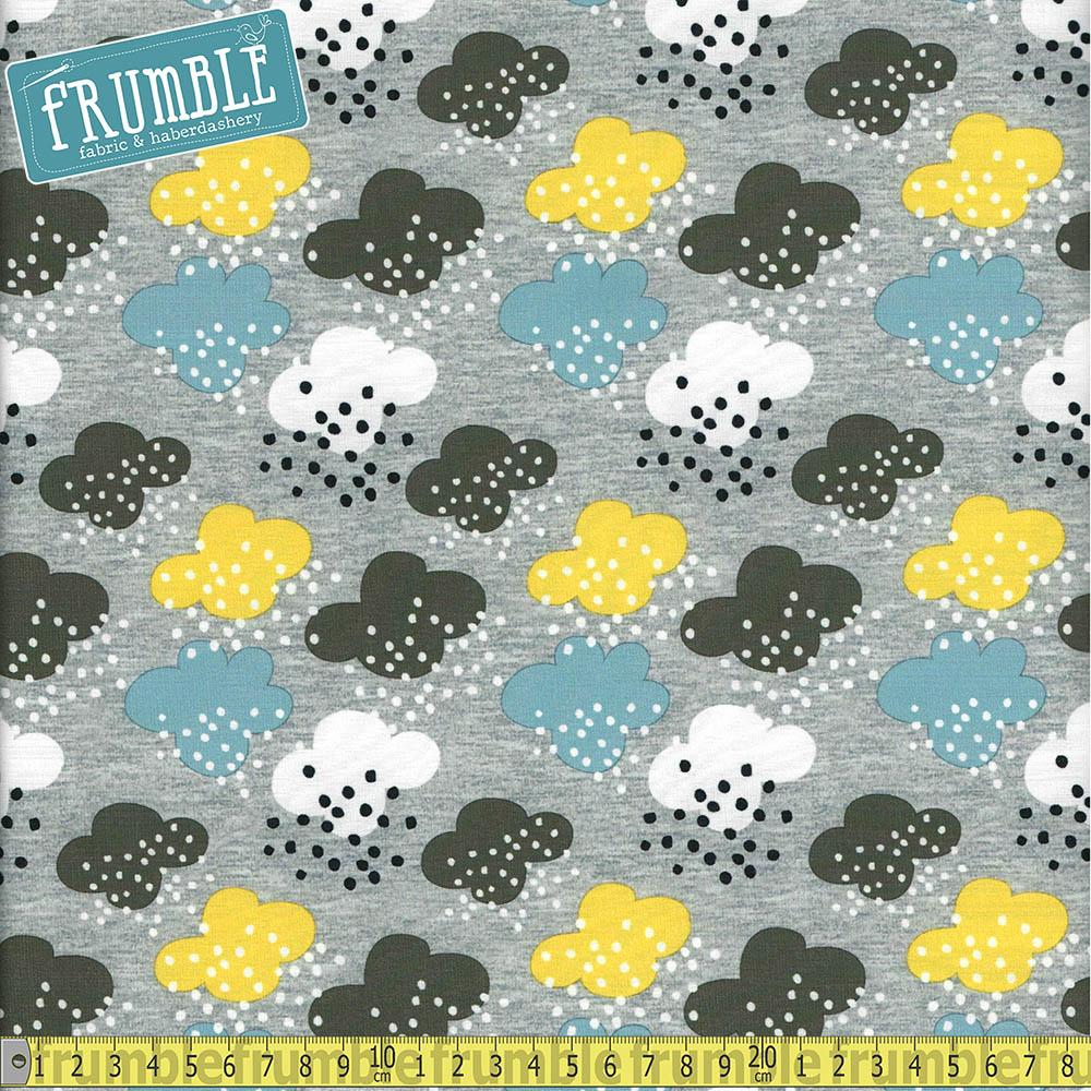 Spring Cloud Showers Grey Printed Softshell Dressmaking fabric, perfect for coats, jackets, bags, capes or even jumpers