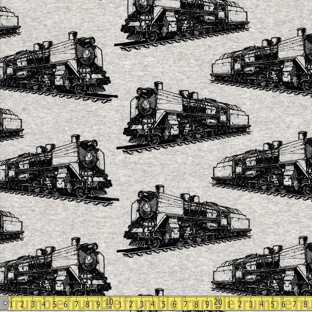 Steam Train Printed French Terry Light Grey - Frumble Fabrics