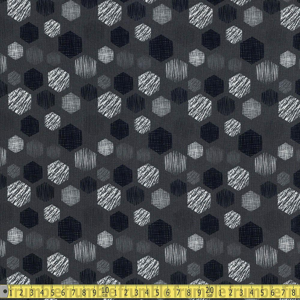 Tone-On-Tone Hexagons Grey Jersey Print Fabric by Various