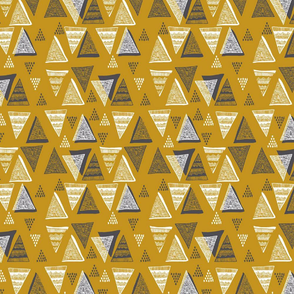 Triangle Stamps Double Gauze Mustard - Frumble Fabrics