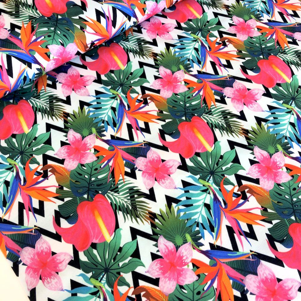 Tropical Plants Chevron Multi Jersey Print Fabric by Various