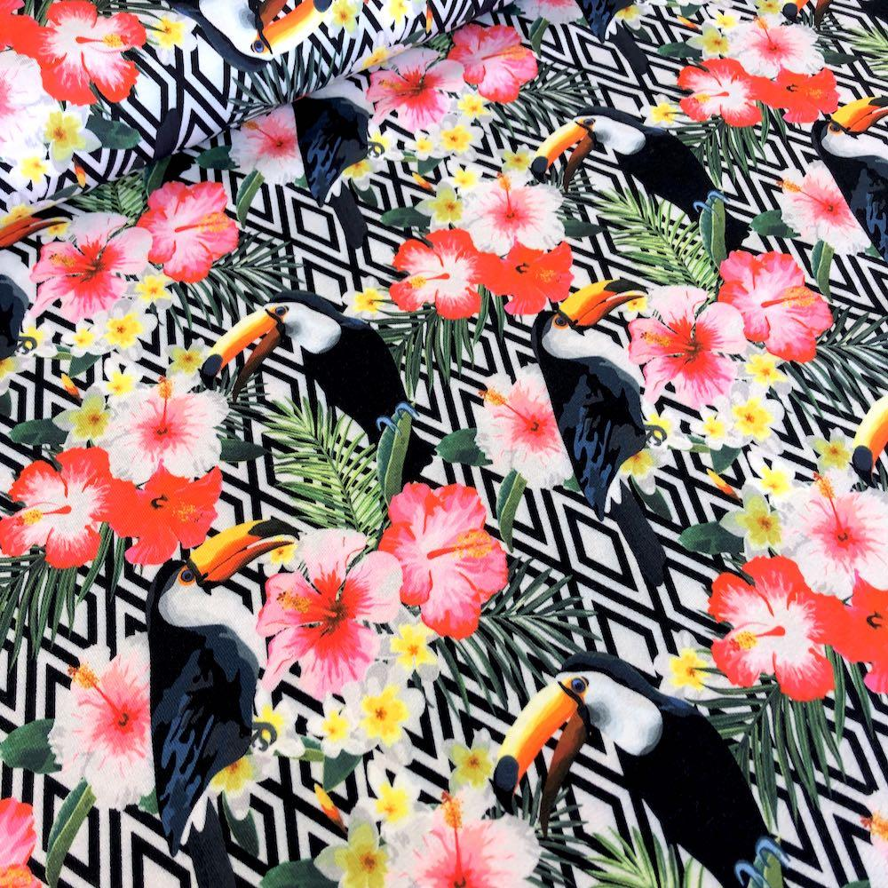 Tropical Toucan Diamonds Multi Jersey Print Fabric by Various