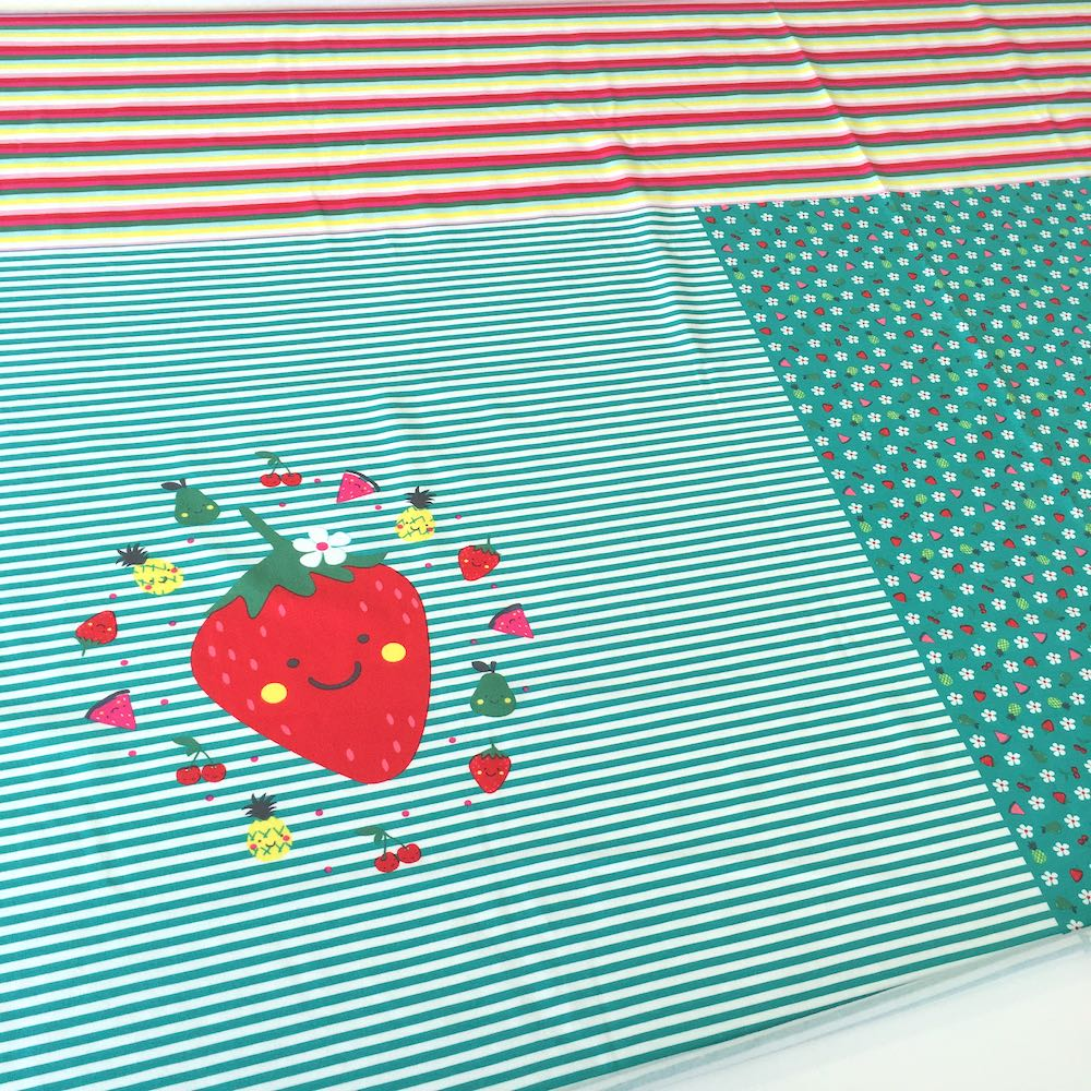 Tutti Fruiti Strawberry 83cm Panel Jersey Print - Frumble Fabrics