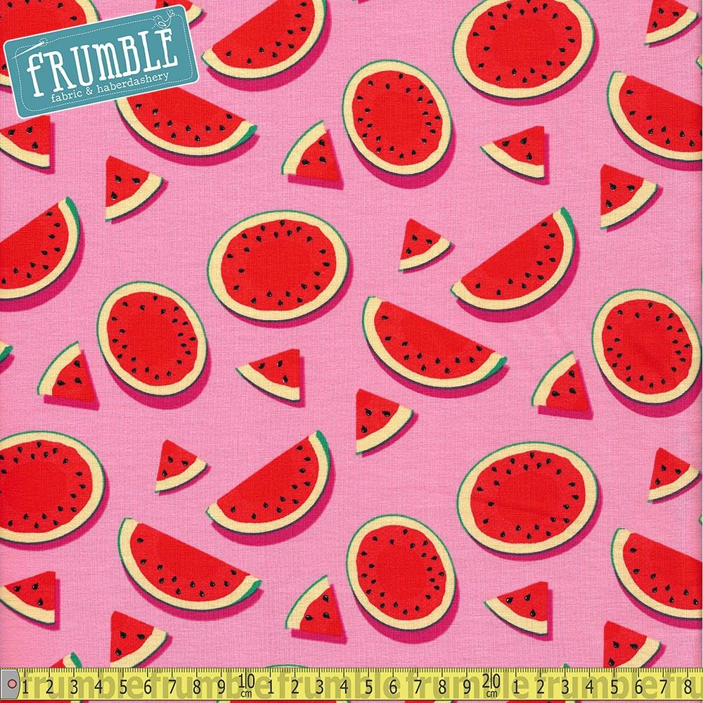 Watermelon Pink Jersey Print Fabric by Various