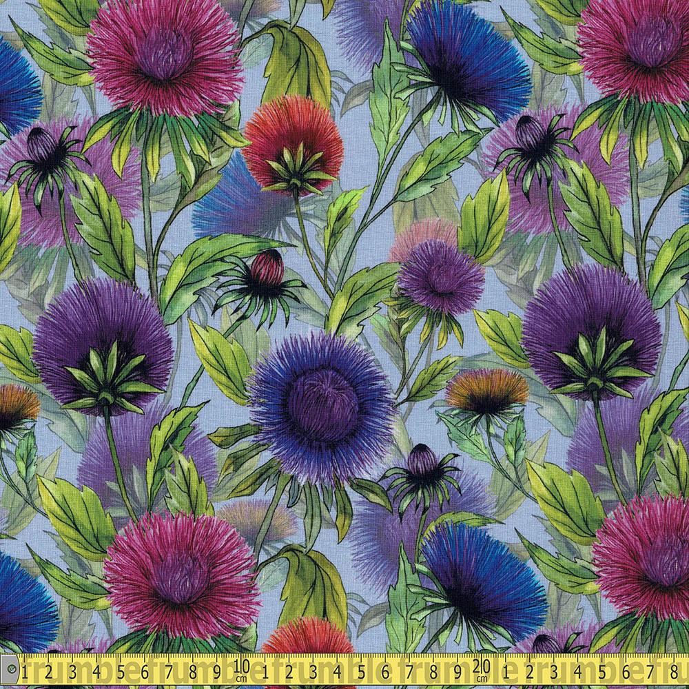 Wild Flowers Allover Lilac Jersey Print - Frumble Fabrics