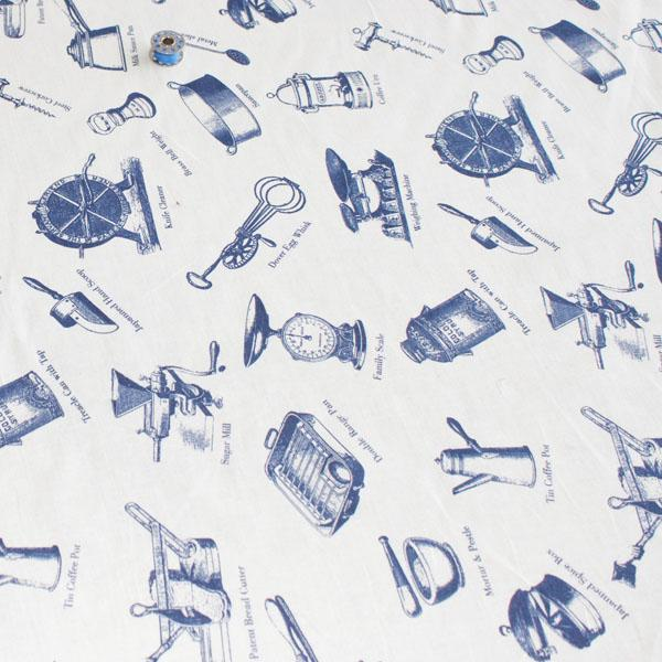 150cm Wide Cotton - Victorian Kitchen Cream (Per Metre) - Frumble Fabrics