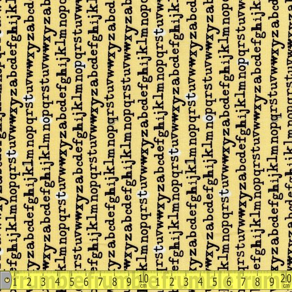 Type Typewriter Letters Yellow Fabric by Windham