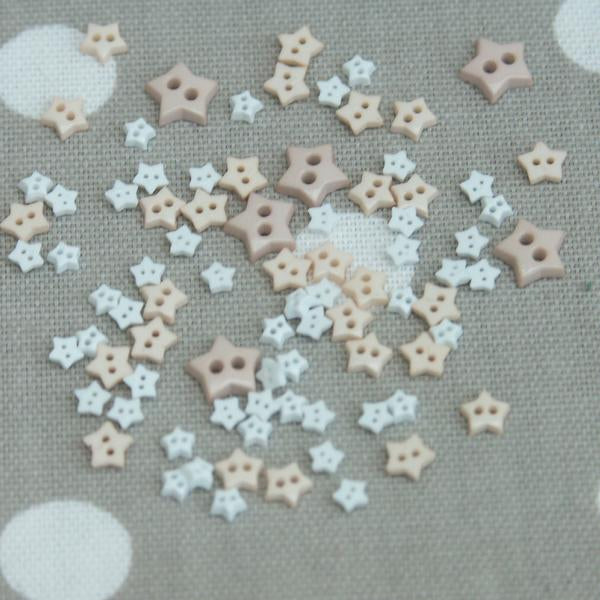 Star Shaped Mini Craft Buttons - Pinks - Frumble Fabrics