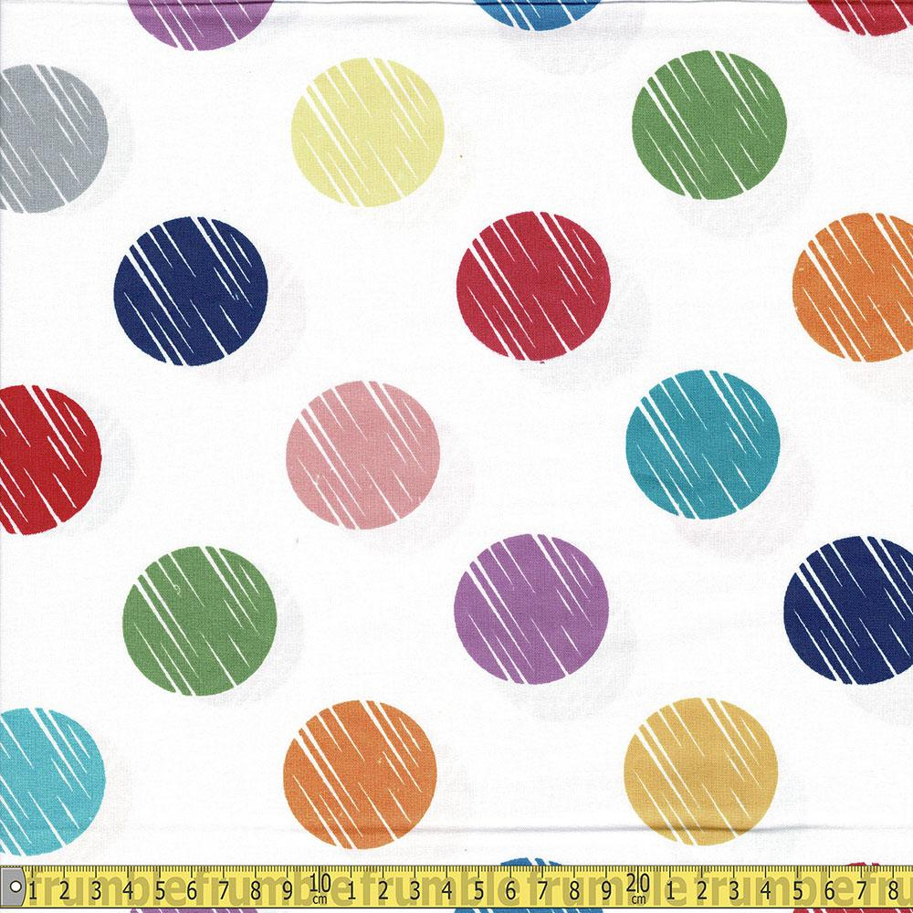 Windham Fabrics - 108 Inch Quilt Backer - Multi Dots White Sewing Fabric
