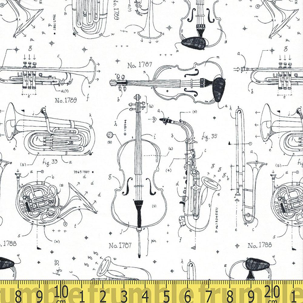 Opus Music Instrument Blueprints White - Frumble Fabrics