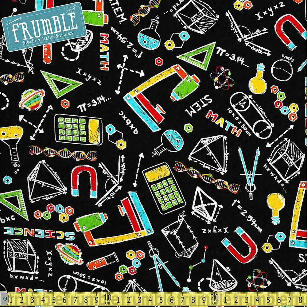 S.T.E.M Science Tech Engineering Maths All Over Multi - Frumble Fabrics
