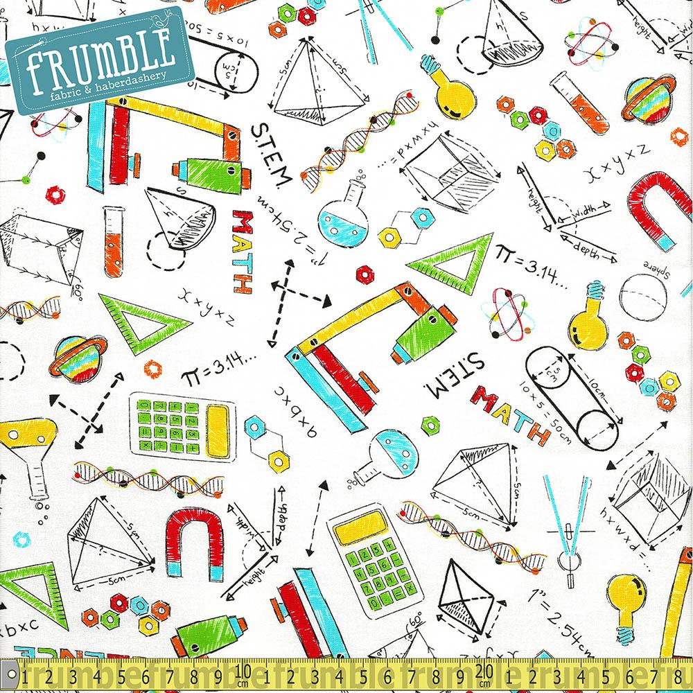 S.T.E.M Science Tech Engineering Maths All Over White - Frumble Fabrics