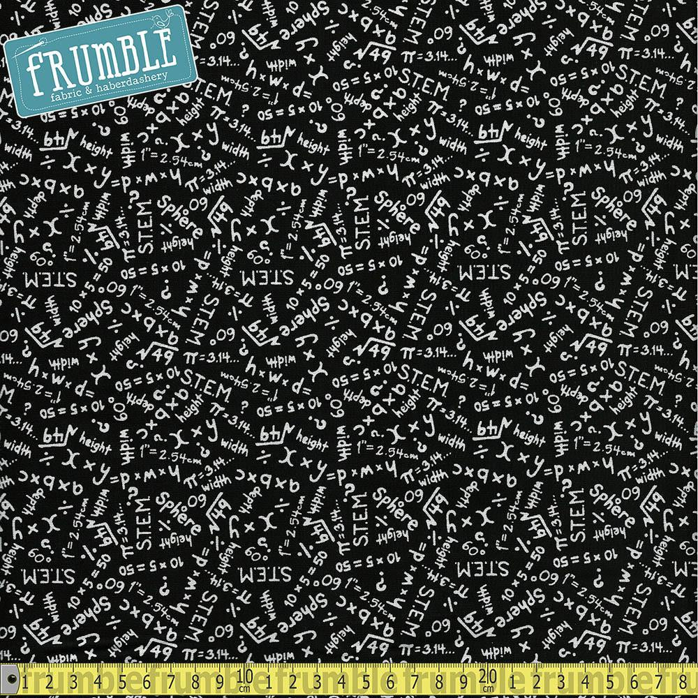 S.T.E.M Science Tech Engineering Maths Equations Black - Frumble Fabrics