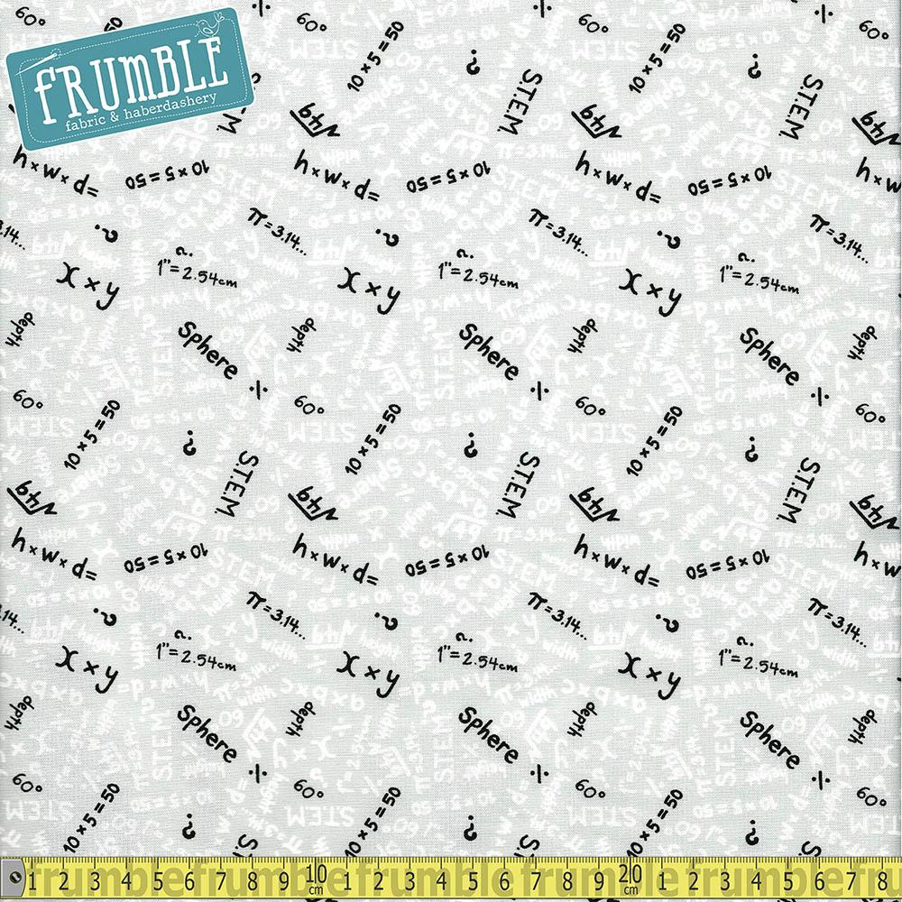 S.T.E.M Science Tech Engineering Maths Equations Grey - Frumble Fabrics