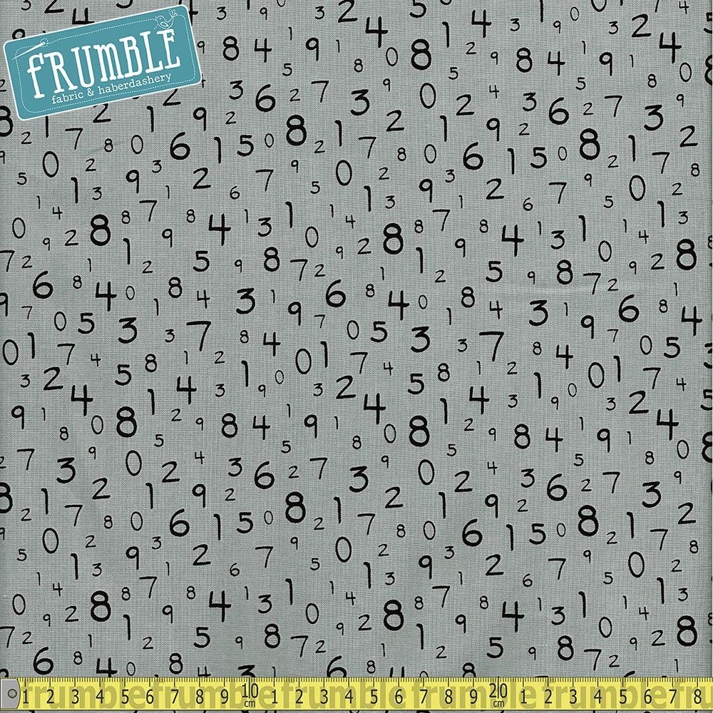 S.T.E.M Science Tech Engineering Maths Numbers Grey - Frumble Fabrics