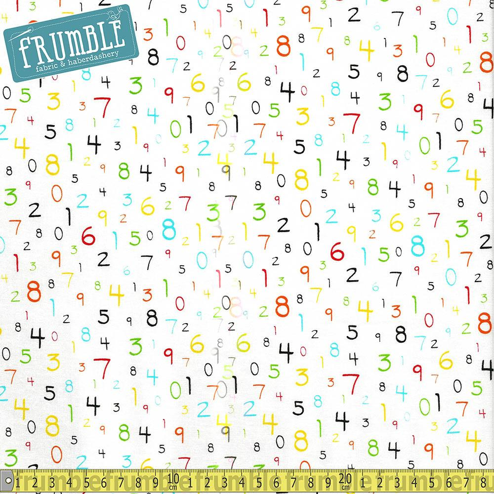 S.T.E.M Science Tech Engineering Maths Numbers White - Frumble Fabrics