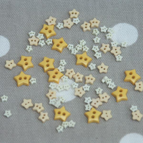 Star Shaped Mini Craft Buttons - Yellow / Peach