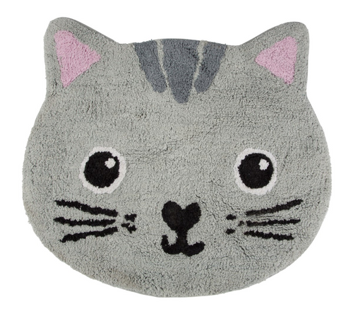 Grey Cat Bath Mat