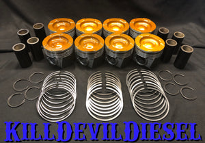 Kill Devil Diesel 6.0 Powerstroke Pistons - Coated w/Machined Bowl and Valve Reliefs