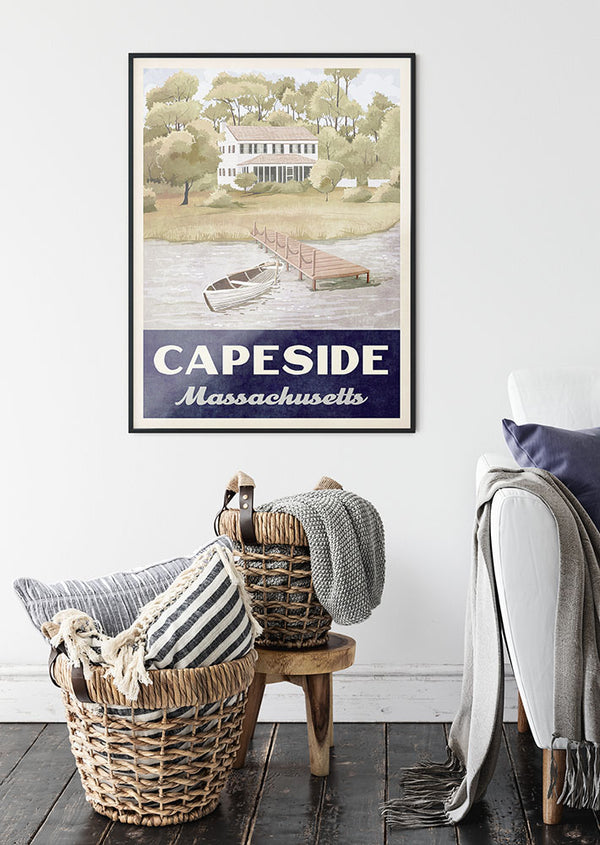 Capeside Massachusetts Retro Vintage Travel Poster