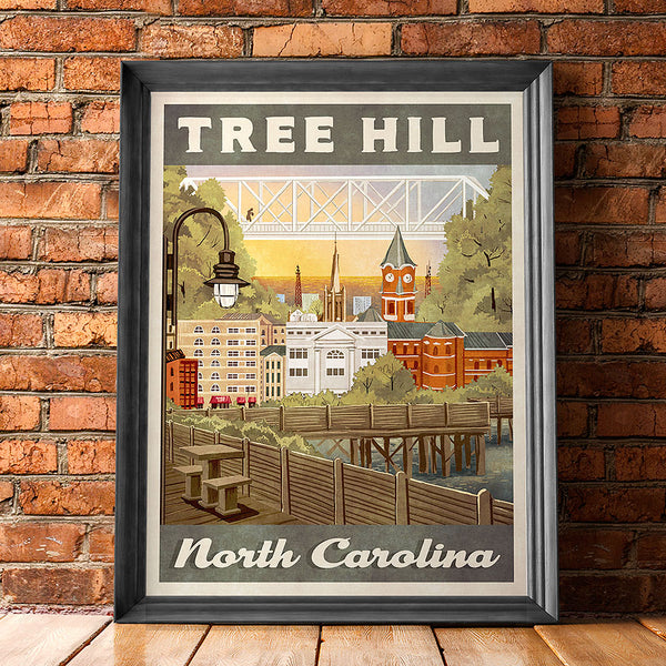 Tree Hill Retro Vintage Travel Poster Inspired by One Tree Hill