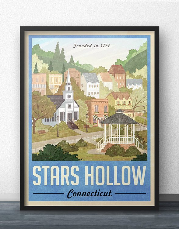 Stars Hollow Vintage Travel Poster (Blue)