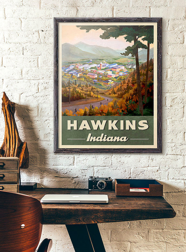 Hawkins Indiana Travel Poster