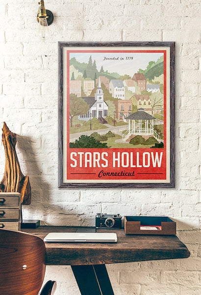 Stars Hollow Vintage Travel Poster (Red)