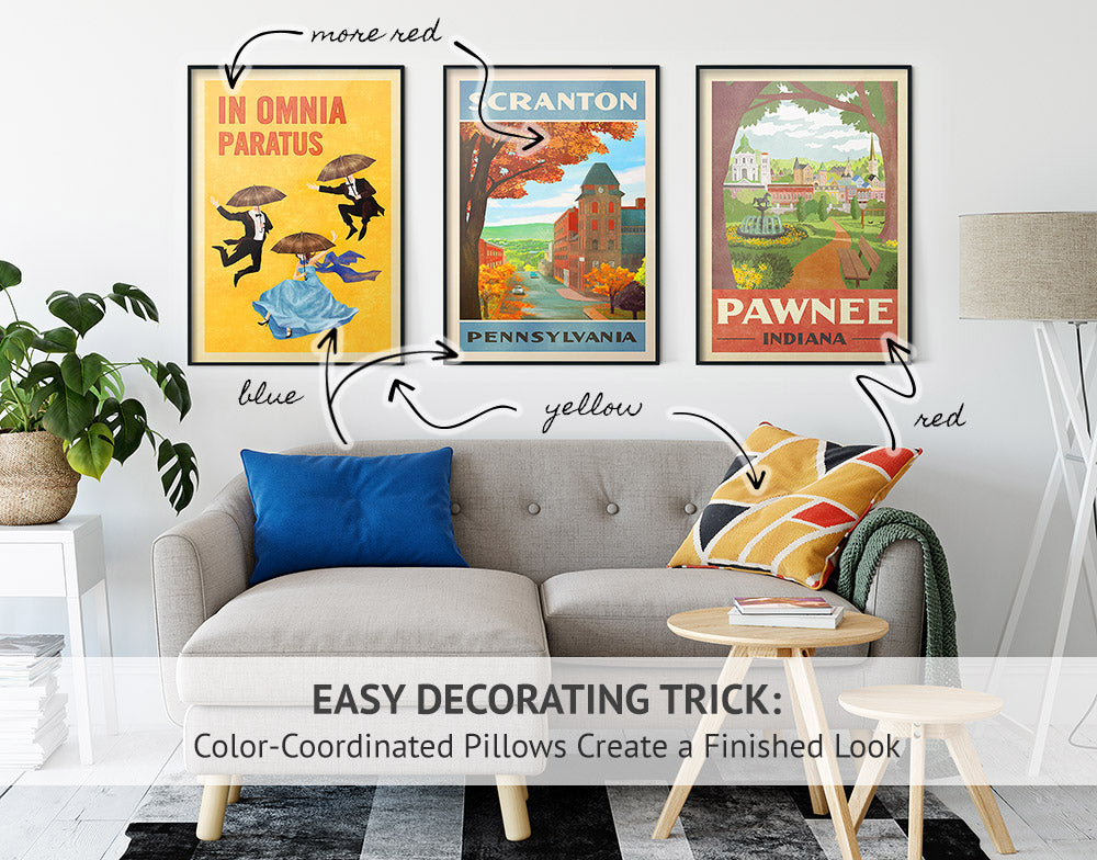 Room Decor Tips & Ideas: Decorating with Posters - Match Pillows with Color Palette