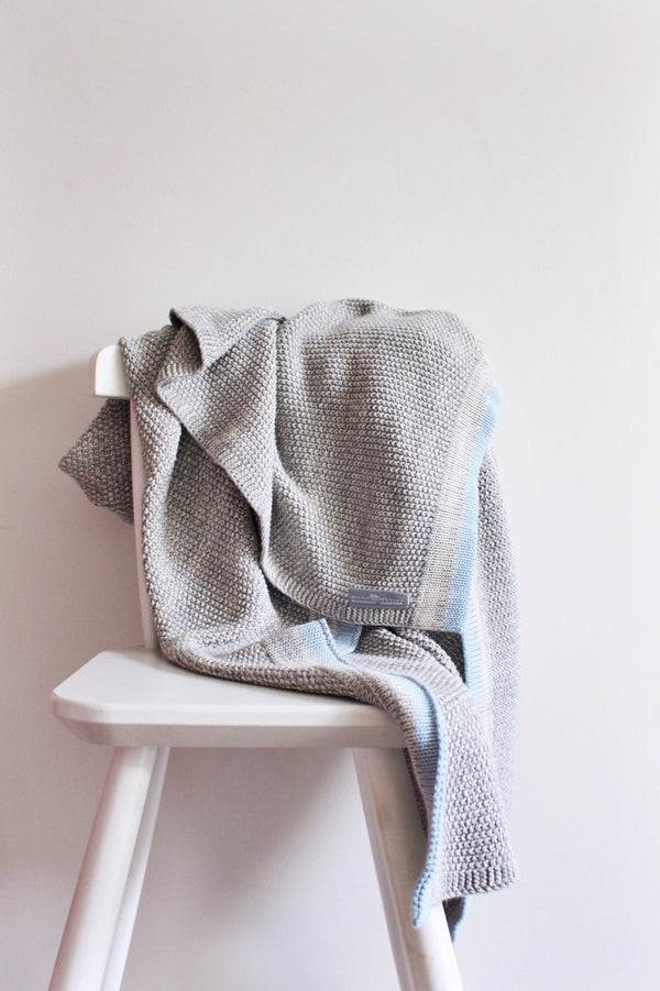 Grey Baby Blanket-with Blue Stripe