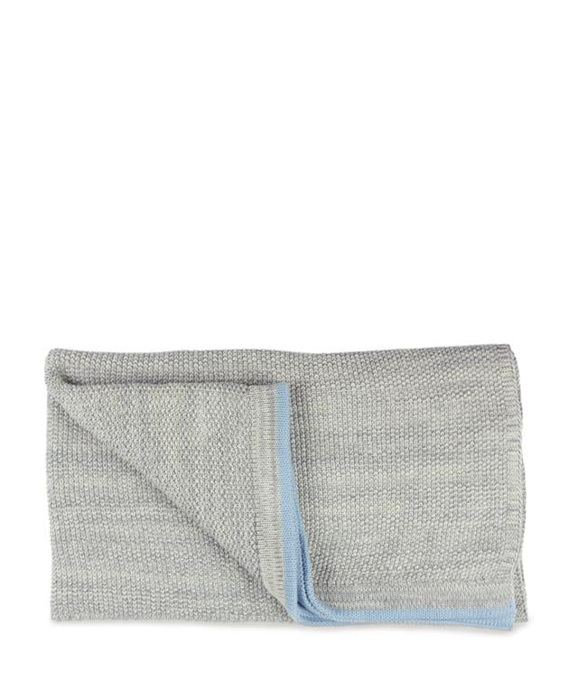 NanaHuchy Grey Baby Blanket-with Blue Stripe