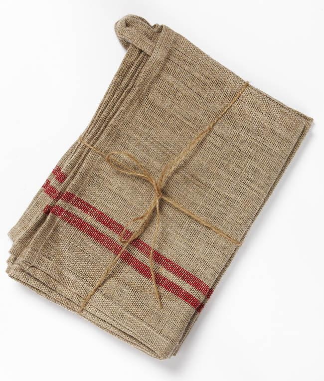 NanaHuchy Set 3 Linen Teatowels-Red
