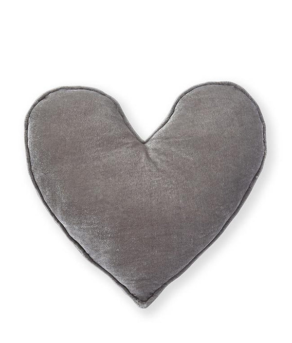 NanaHuchy Velvet Heart Cushion Lge-Grey