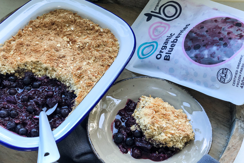 Tamarillo, Blueberry & Pear Crumble