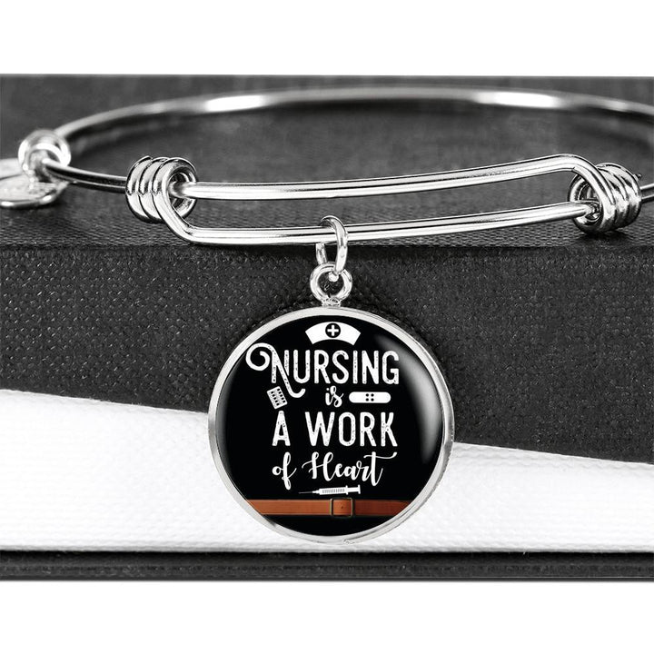 """Nursing Is A Work of Heart"" Luxury Circle Bangle - PupZeon"