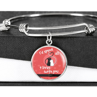 """I'D SPEND ALL 9 LIVES WITH YOU"" LUXURY CIRCLE BANGLE - S&G Collections"