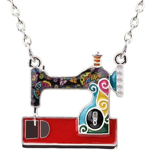 Enamel Sewing Machine Pendants Necklace - S&G Collections